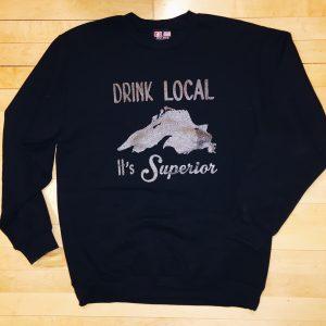 Drink Local Black Creneck Sweatshirt