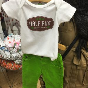 Sproutlings | Half Pint Locally Brewed Onesie $23.00 | Green Pants $26.75 Sproutlings Children's Boutique in Duluth, MN highlights items for infant through size 8 Y. Our focus is fun, durable fashions, shoes & accessories. Sproutlings supports eco minded products for your child.