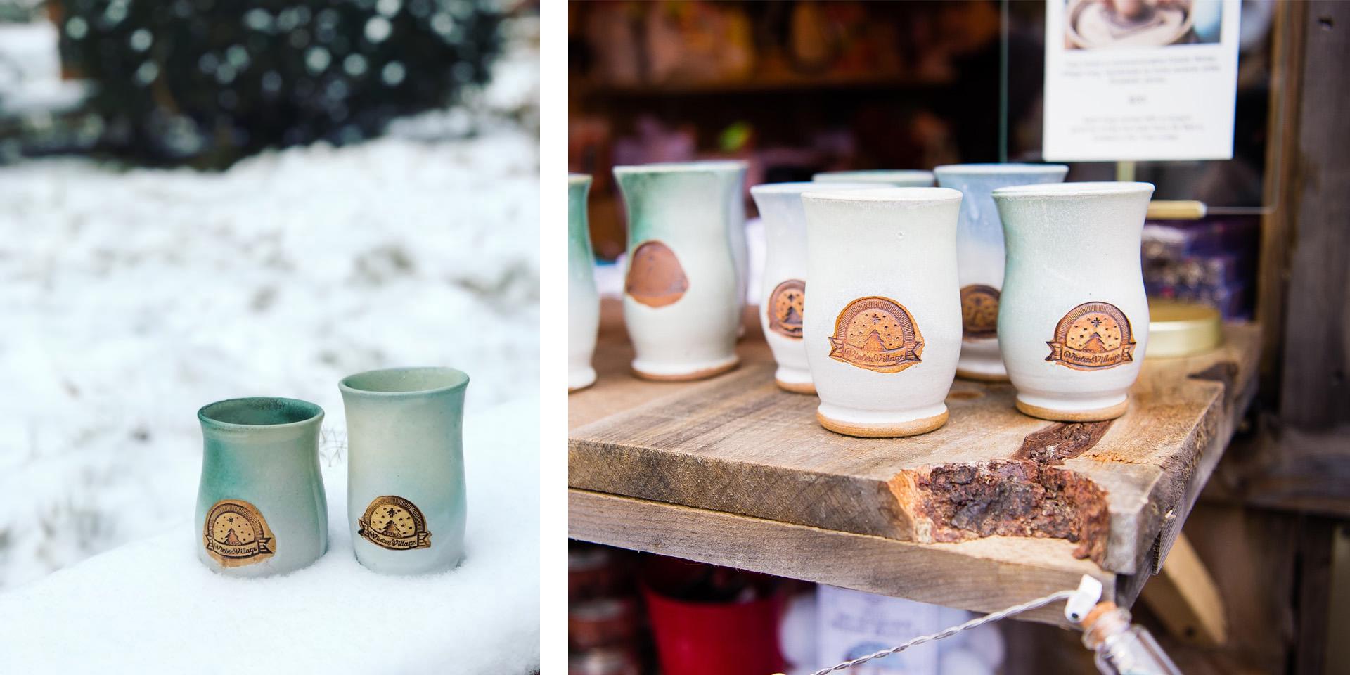 Duluth Winter Village Hand-crafted Mugs by local artist Liz James in Duluth, Minnesota